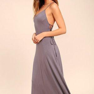 Lulus Ever Amazed Dusty Purple Lace-Up Maxi Dress